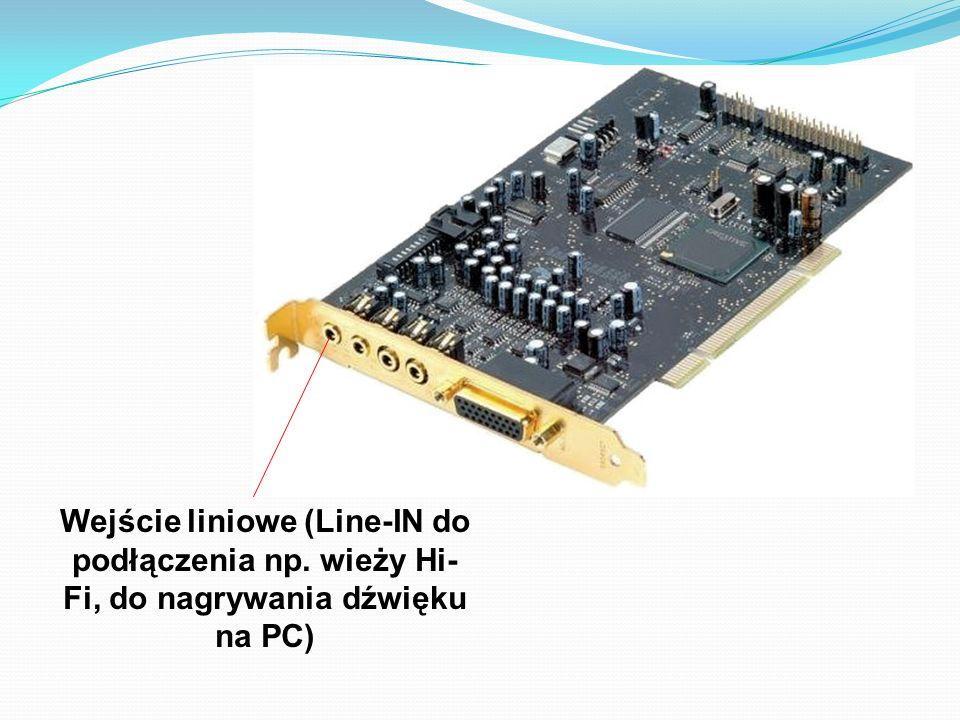 Wejście liniowe (Line-IN do podłączenia np. wieży Hi- Fi, do nagrywania dźwięku na PC)