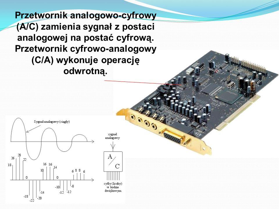 Przetwornik analogowo-cyfrowy (A/C) zamienia sygnał z postaci analogowej na postać cyfrową. Przetwornik cyfrowo-analogowy (C/A) wykonuje operację odwr