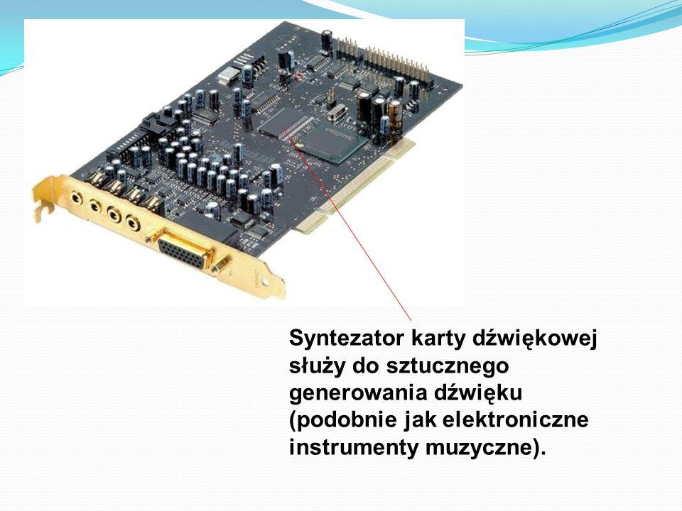 Syntezator karty dźwiękowej służy do sztucznego generowania dźwięku (podobnie jak elektroniczne instrumenty muzyczne).