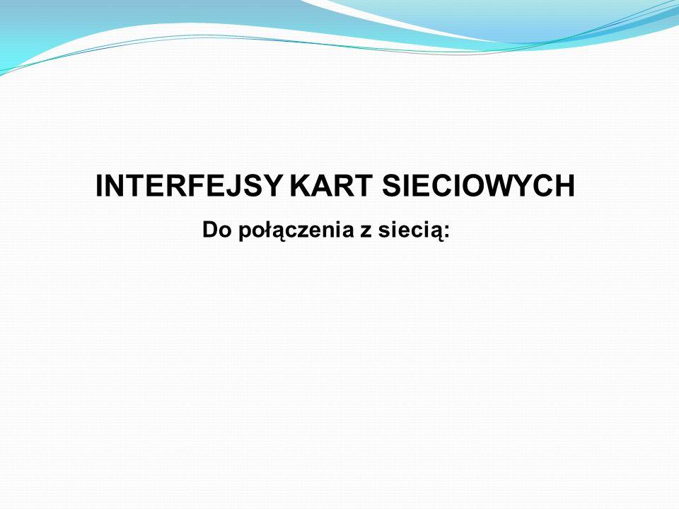 INTERFEJSY KART SIECIOWYCH Do połączenia z siecią: