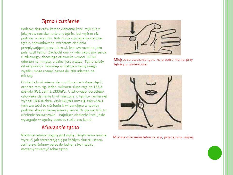 . Tętno i ciśnienie Podczas skurczów komór ciśnienie krwi, czyli siła z jaką krew naciska na ściany tętnic, jest wyższe niż podczas rozkurczów. Rytmic