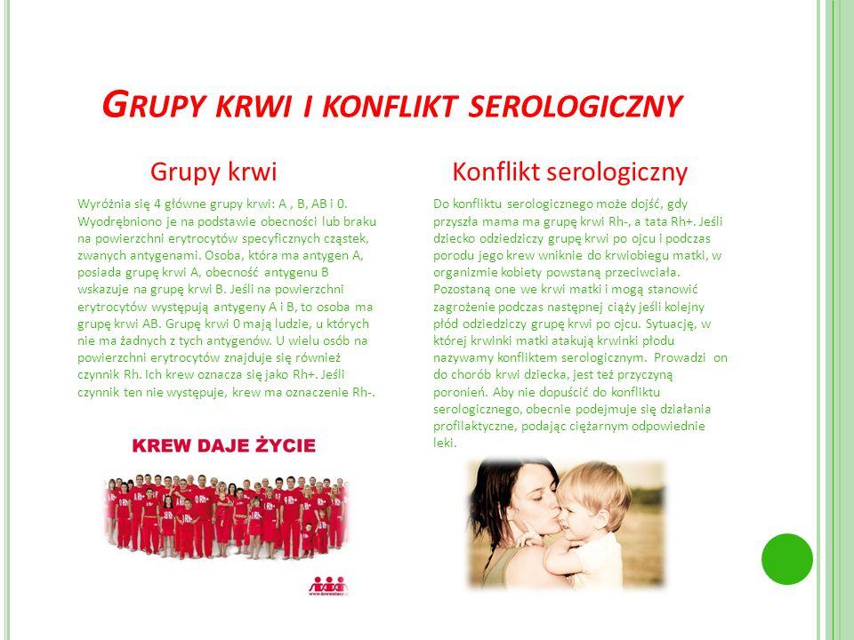 G RUPY KRWI I KONFLIKT SEROLOGICZNY Grupy krwi Wyróżnia się 4 główne grupy krwi: A, B, AB i 0. Wyodrębniono je na podstawie obecności lub braku na pow