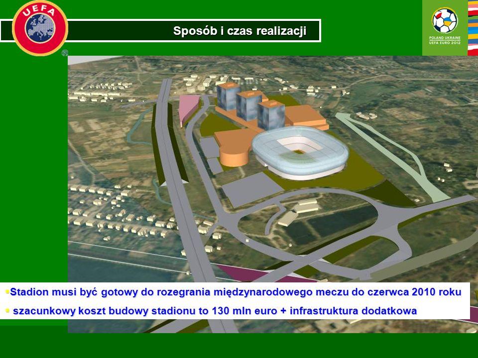 Sposób i czas realizacji Stadion musi być gotowy do rozegrania międzynarodowego meczu do czerwca 2010 roku Stadion musi być gotowy do rozegrania międz