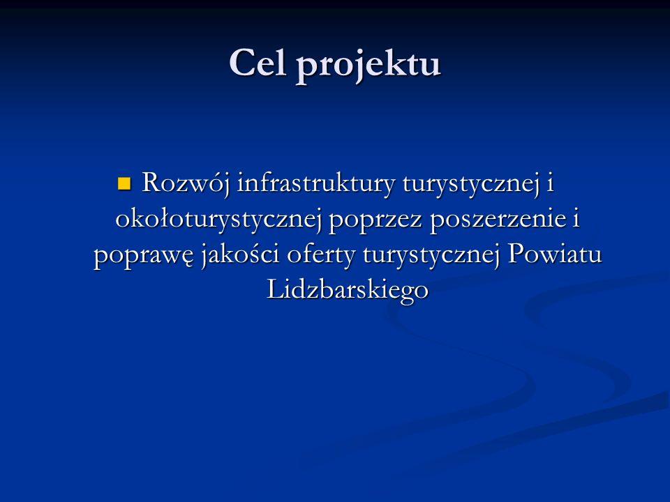 Cel projektu Rozwój infrastruktury turystycznej i okołoturystycznej poprzez poszerzenie i poprawę jakości oferty turystycznej Powiatu Lidzbarskiego Rozwój infrastruktury turystycznej i okołoturystycznej poprzez poszerzenie i poprawę jakości oferty turystycznej Powiatu Lidzbarskiego