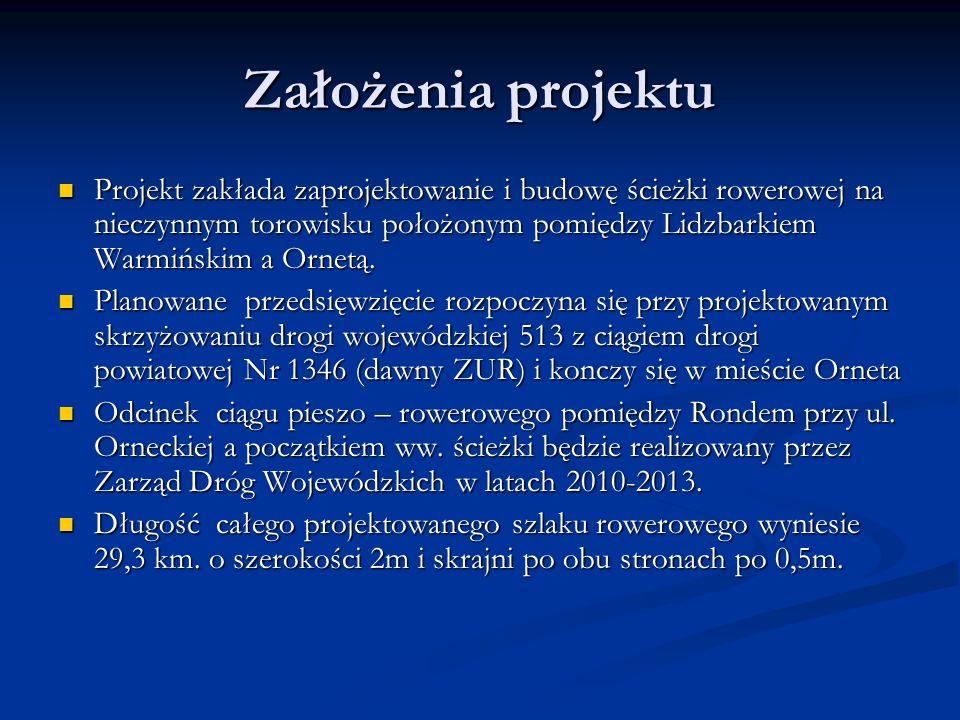 Założenia projektu Projekt zakłada zaprojektowanie i budowę ścieżki rowerowej na nieczynnym torowisku położonym pomiędzy Lidzbarkiem Warmińskim a Ornetą.