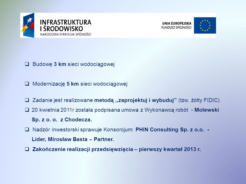 Budowę 3 km sieci wodociągowej Modernizację 5 km sieci wodociągowej Zadanie jest realizowane metodą,,zaprojektuj i wybuduj (tzw. żółty FIDIC) 20 kwiet