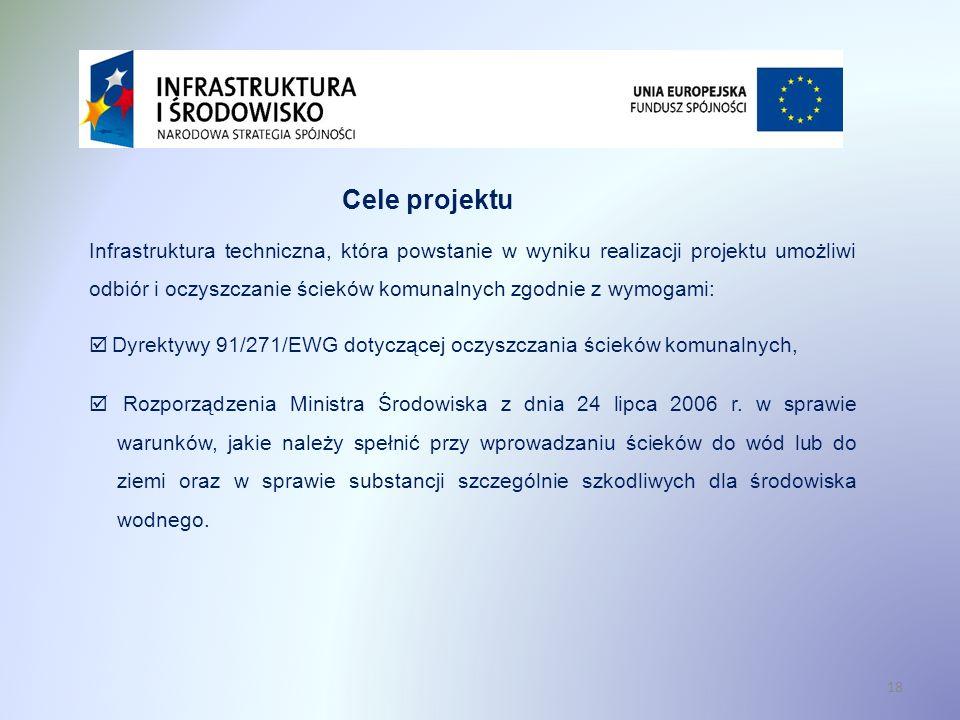 18 Cele projektu Infrastruktura techniczna, która powstanie w wyniku realizacji projektu umożliwi odbiór i oczyszczanie ścieków komunalnych zgodnie z
