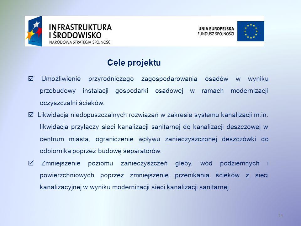 19 Cele projektu Umożliwienie przyrodniczego zagospodarowania osadów w wyniku przebudowy instalacji gospodarki osadowej w ramach modernizacji oczyszcz