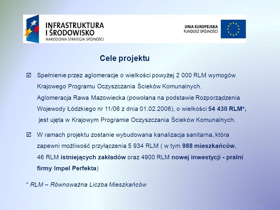 20 Cele projektu Spełnienie przez aglomeracje o wielkości powyżej 2 000 RLM wymogów Krajowego Programu Oczyszczania Ścieków Komunalnych. Aglomeracja R