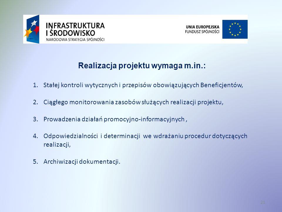 21 Realizacja projektu wymaga m.in.: 1.Stałej kontroli wytycznych i przepisów obowiązujących Beneficjentów, 2.Ciągłego monitorowania zasobów służących