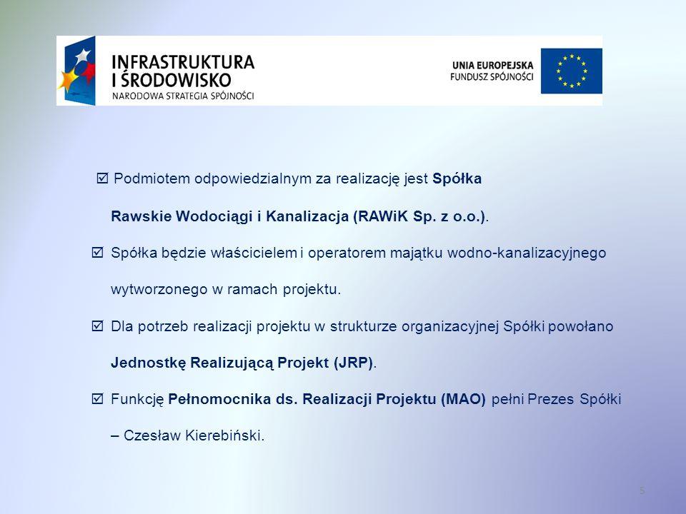 Podmiotem odpowiedzialnym za realizację jest Spółka Rawskie Wodociągi i Kanalizacja (RAWiK Sp. z o.o.). Spółka będzie właścicielem i operatorem majątk