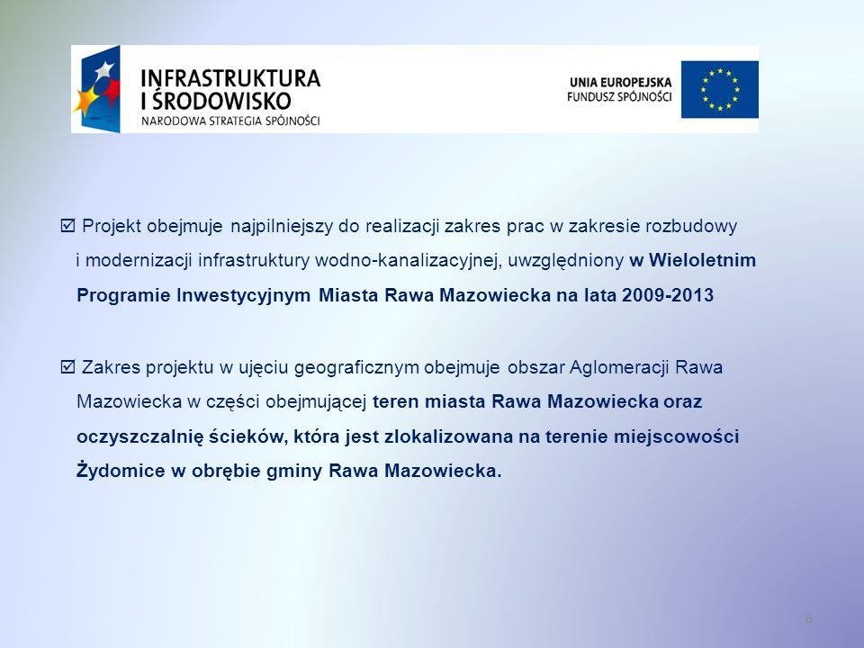 17 Cele projektu Wyposażenie obszaru aglomeracji Rawa Mazowiecka w infrastrukturę techniczną umożliwiającą spełnienie wymogów zawartych w prawodawstwie unijnym i krajowym.