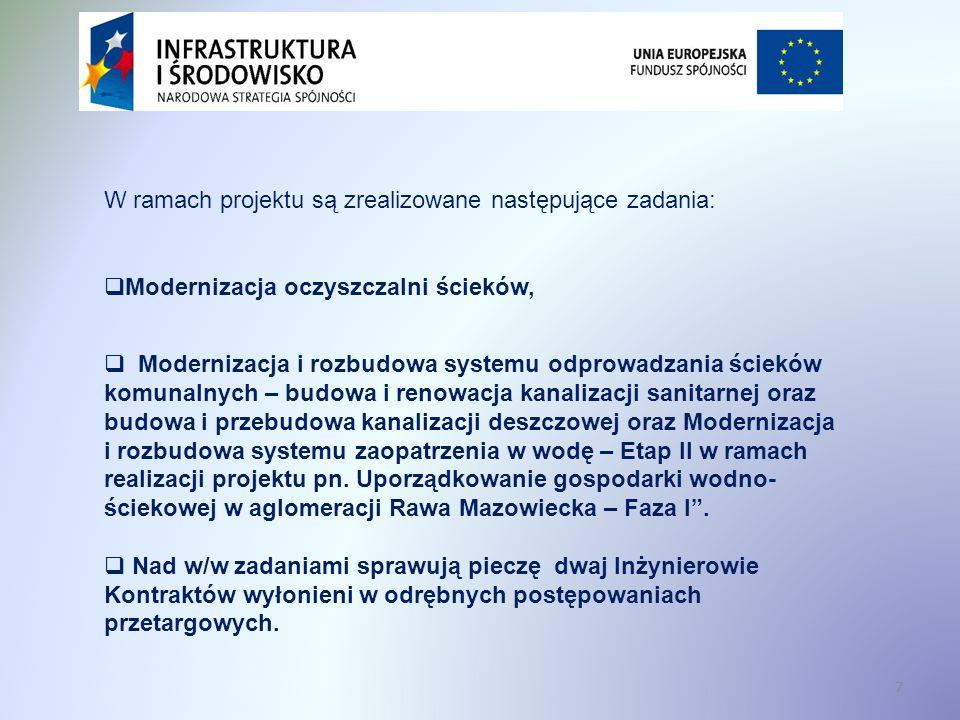 18 Cele projektu Infrastruktura techniczna, która powstanie w wyniku realizacji projektu umożliwi odbiór i oczyszczanie ścieków komunalnych zgodnie z wymogami: Dyrektywy 91/271/EWG dotyczącej oczyszczania ścieków komunalnych, Rozporządzenia Ministra Środowiska z dnia 24 lipca 2006 r.
