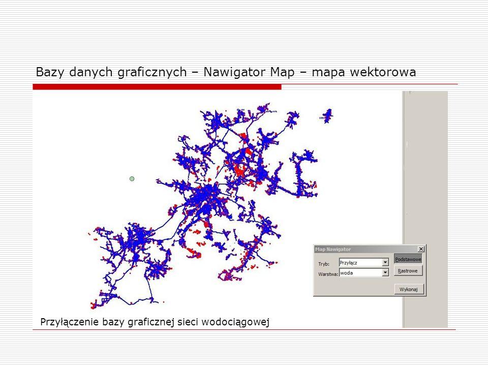 Bazy danych graficznych – Nawigator Map – mapa wektorowa Przyłączenie bazy graficznej sieci wodociągowej