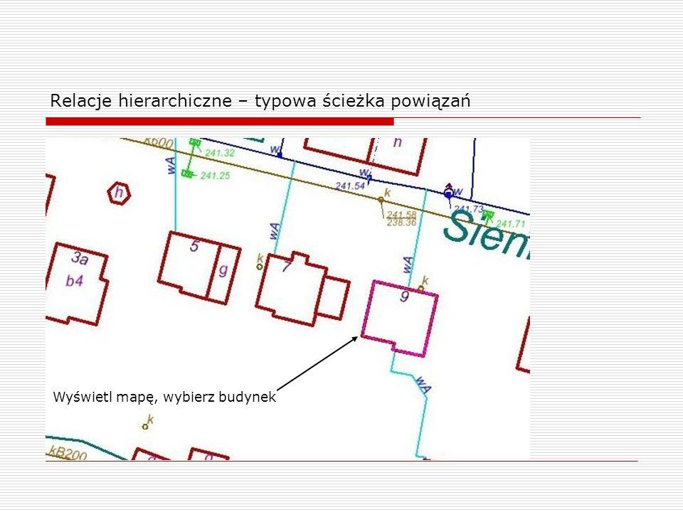 Relacje hierarchiczne – typowa ścieżka powiązań Wyświetl mapę, wybierz budynek