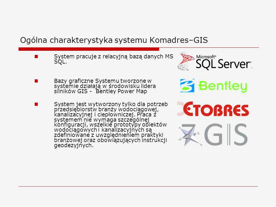 Ogólna charakterystyka systemu Komadres–GIS System pracuje z relacyjną bazą danych MS SQL. Bazy graficzne Systemu tworzone w systemie działają w środo