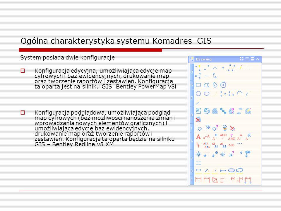 System posiada dwie konfiguracje Konfiguracja edycyjna, umożliwiająca edycje map cyfrowych i baz ewidencyjnych, drukowanie map oraz tworzenie raportów