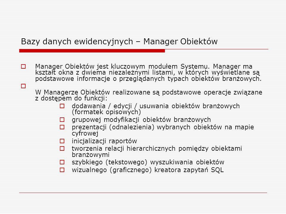 Bazy danych ewidencyjnych – Manager Obiektów Manager Obiektów jest kluczowym modułem Systemu. Manager ma kształt okna z dwiema niezależnymi listami, w