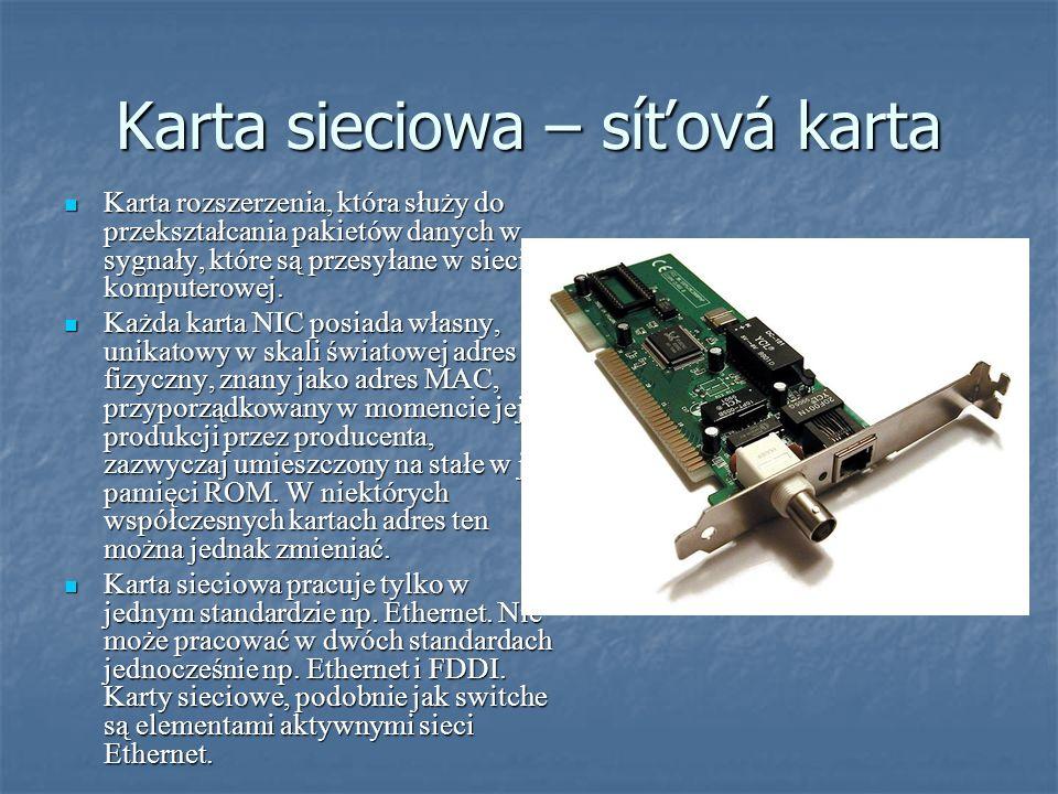 Karta sieciowa – síťová karta Karta rozszerzenia, która służy do przekształcania pakietów danych w sygnały, które są przesyłane w sieci komputerowej.