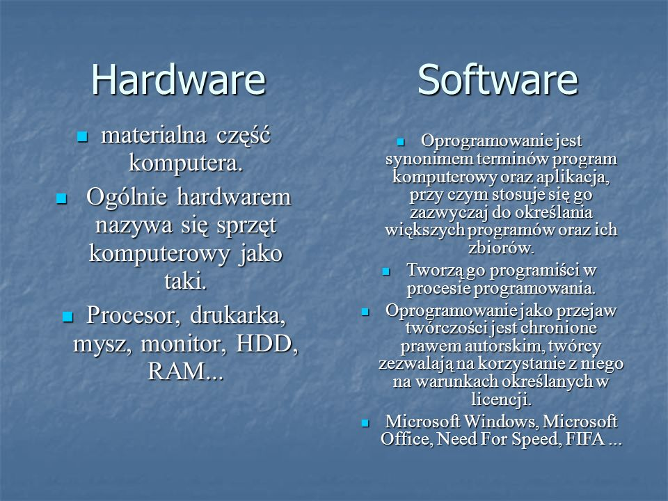 Hardware Software materialna część komputera.materialna część komputera.