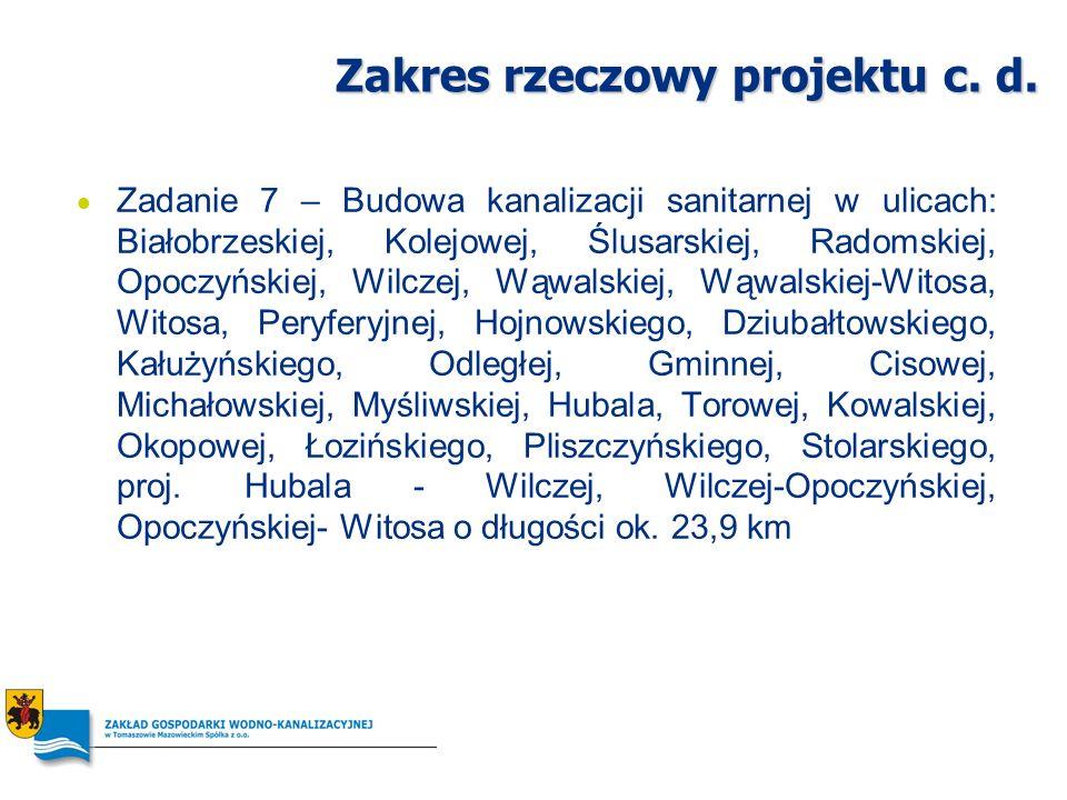 Zakres rzeczowy projektu c. d. Zadanie 7 – Budowa kanalizacji sanitarnej w ulicach: Białobrzeskiej, Kolejowej, Ślusarskiej, Radomskiej, Opoczyńskiej,