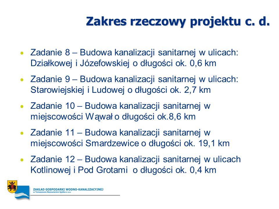 Zakres rzeczowy projektu c. d. Zadanie 8 – Budowa kanalizacji sanitarnej w ulicach: Działkowej i Józefowskiej o długości ok. 0,6 km Zadanie 9 – Budowa