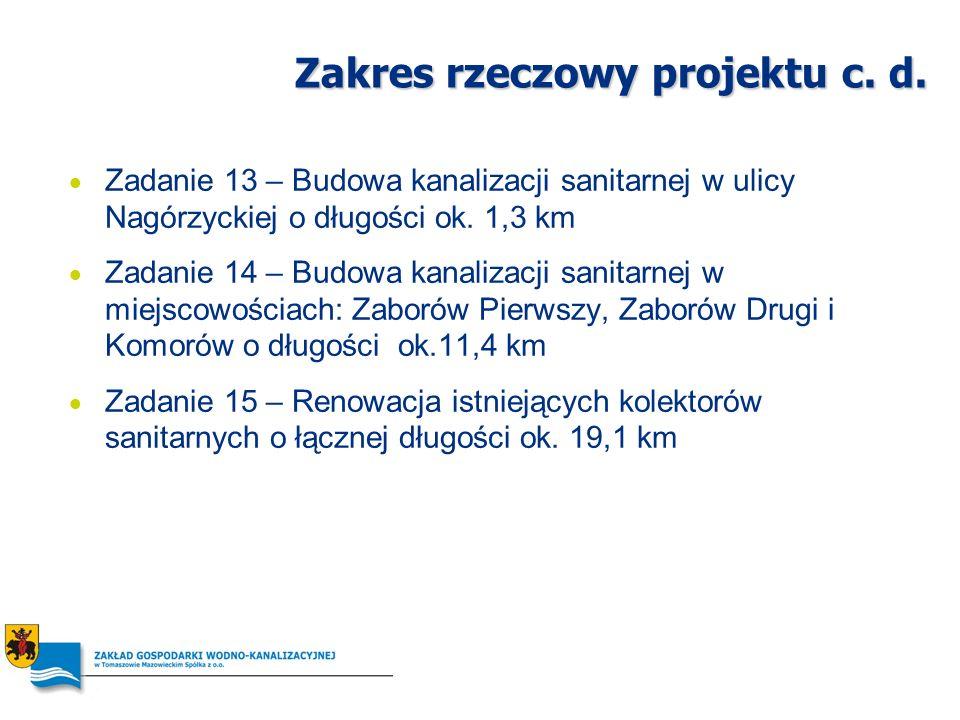 Zakres rzeczowy projektu c. d. Zadanie 13 – Budowa kanalizacji sanitarnej w ulicy Nagórzyckiej o długości ok. 1,3 km Zadanie 14 – Budowa kanalizacji s
