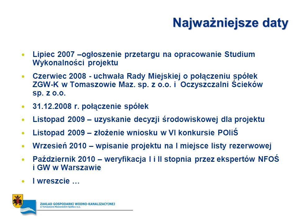 Najważniejsze daty Lipiec 2007 –ogłoszenie przetargu na opracowanie Studium Wykonalności projektu Czerwiec 2008 - uchwała Rady Miejskiej o połączeniu