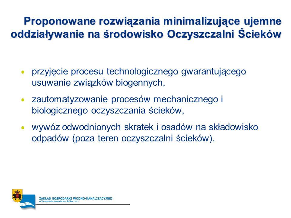 Proponowane rozwiązania minimalizujące ujemne oddziaływanie na środowisko Oczyszczalni Ścieków przyjęcie procesu technologicznego gwarantującego usuwa