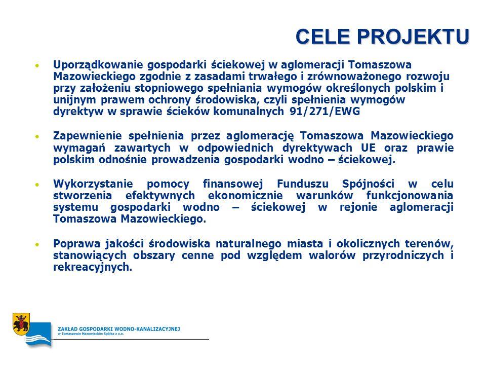 CELE PROJEKTU Uporządkowanie gospodarki ściekowej w aglomeracji Tomaszowa Mazowieckiego zgodnie z zasadami trwałego i zrównoważonego rozwoju przy zało