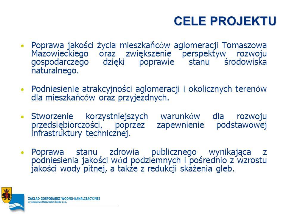 CELE PROJEKTU Poprawa jakości życia mieszkańc ó w aglomeracji Tomaszowa Mazowieckiego oraz zwiększenie perspektyw rozwoju gospodarczego dzięki poprawi