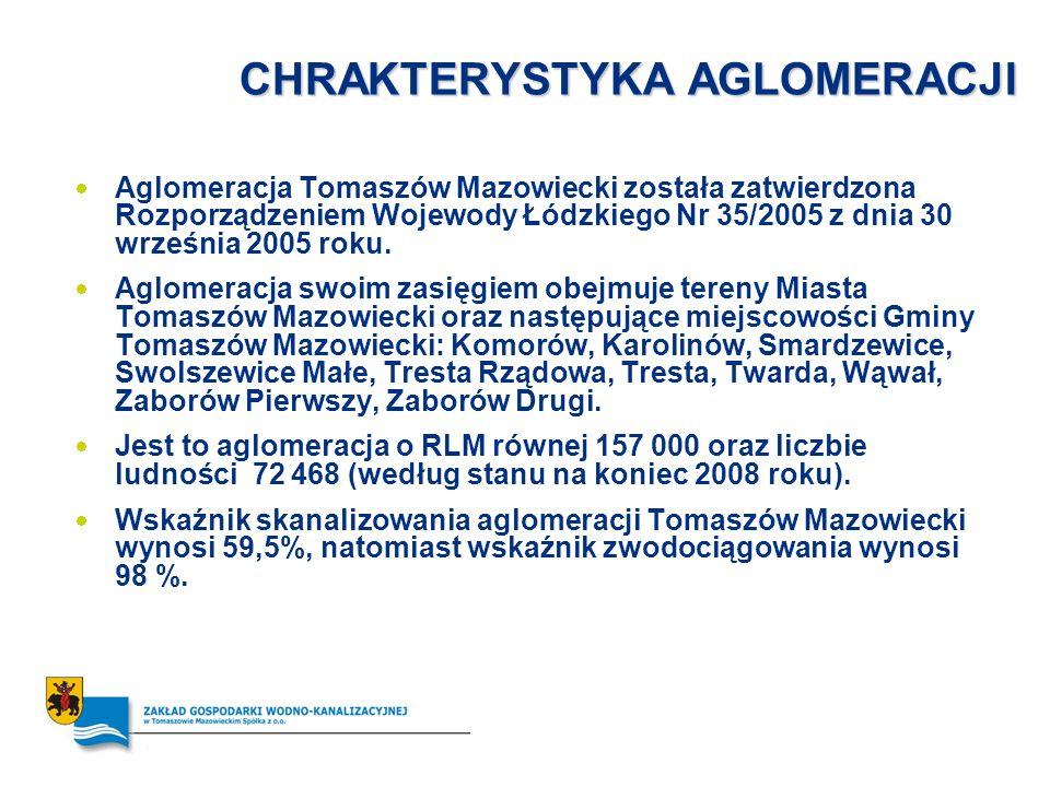 CHRAKTERYSTYKA AGLOMERACJI Aglomeracja Tomaszów Mazowiecki została zatwierdzona Rozporządzeniem Wojewody Łódzkiego Nr 35/2005 z dnia 30 września 2005