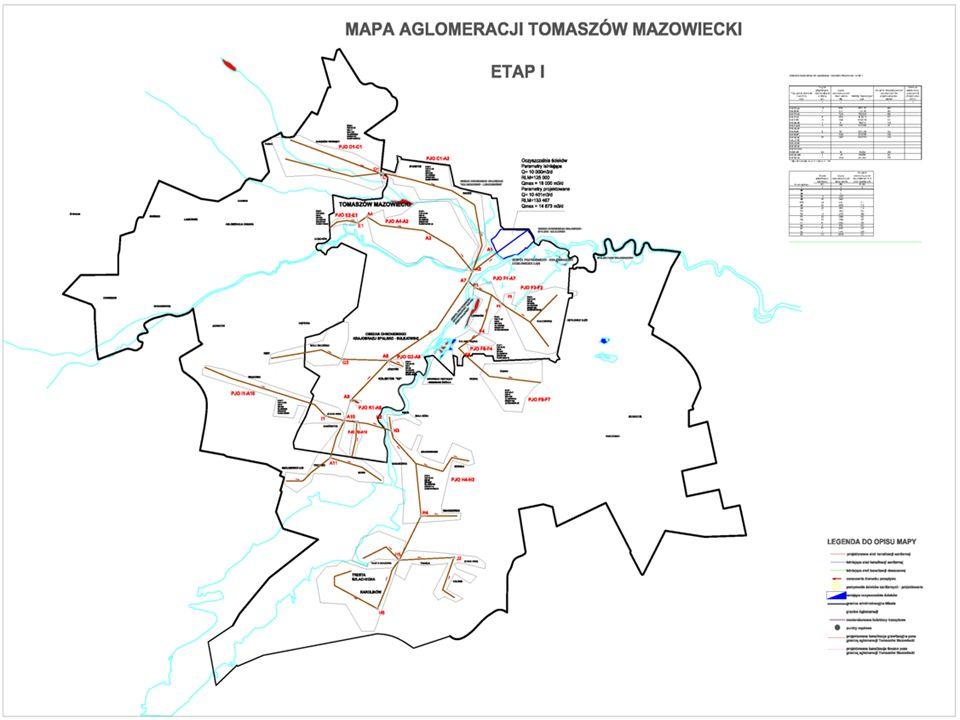 STAN ISTNIEJĄCY Miasto Tomaszów Mazowiecki jest skanalizowane w ok.