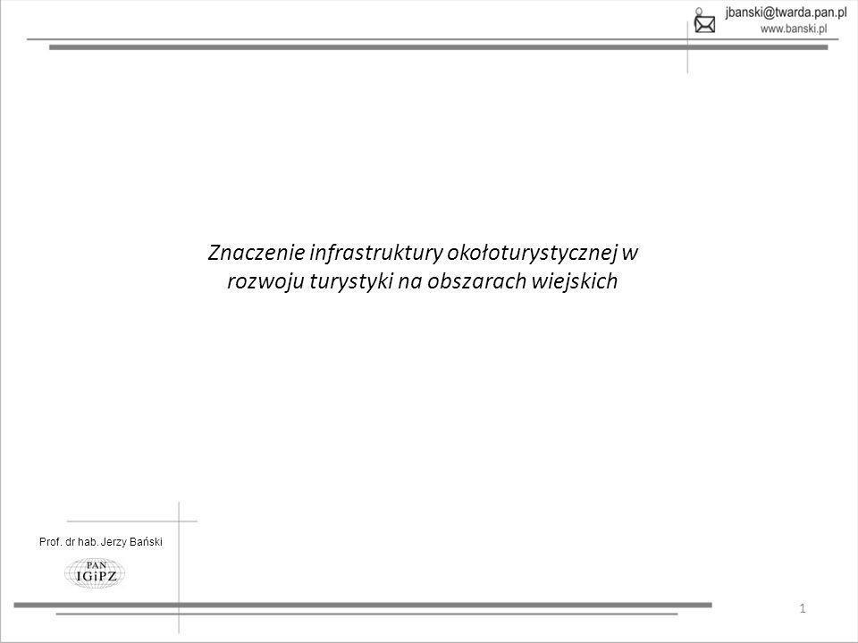 Prof. dr hab. Jerzy Bański 1 Znaczenie infrastruktury okołoturystycznej w rozwoju turystyki na obszarach wiejskich