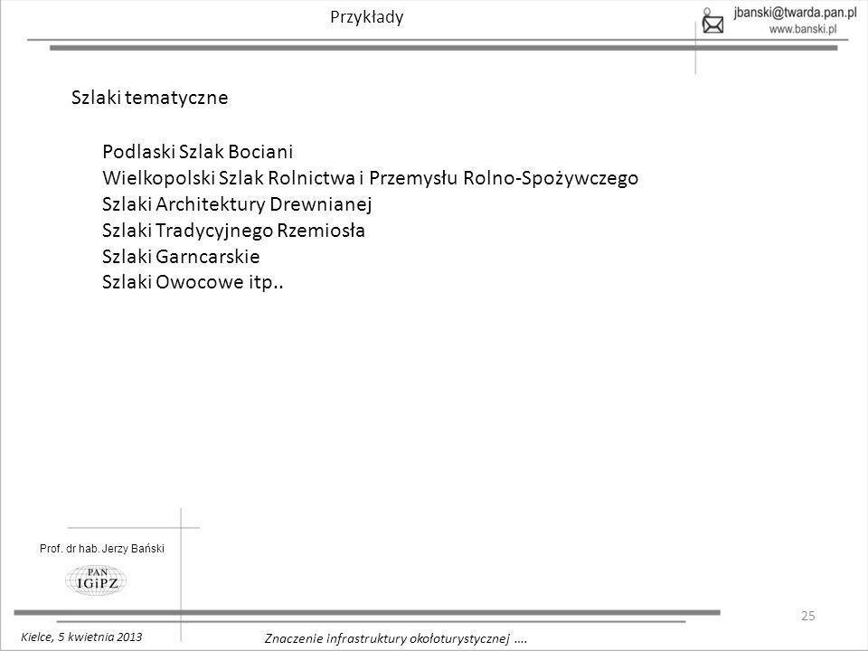 25 Znaczenie infrastruktury okołoturystycznej …. Przykłady Prof. dr hab. Jerzy Bański Kielce, 5 kwietnia 2013 Szlaki tematyczne Podlaski Szlak Bociani