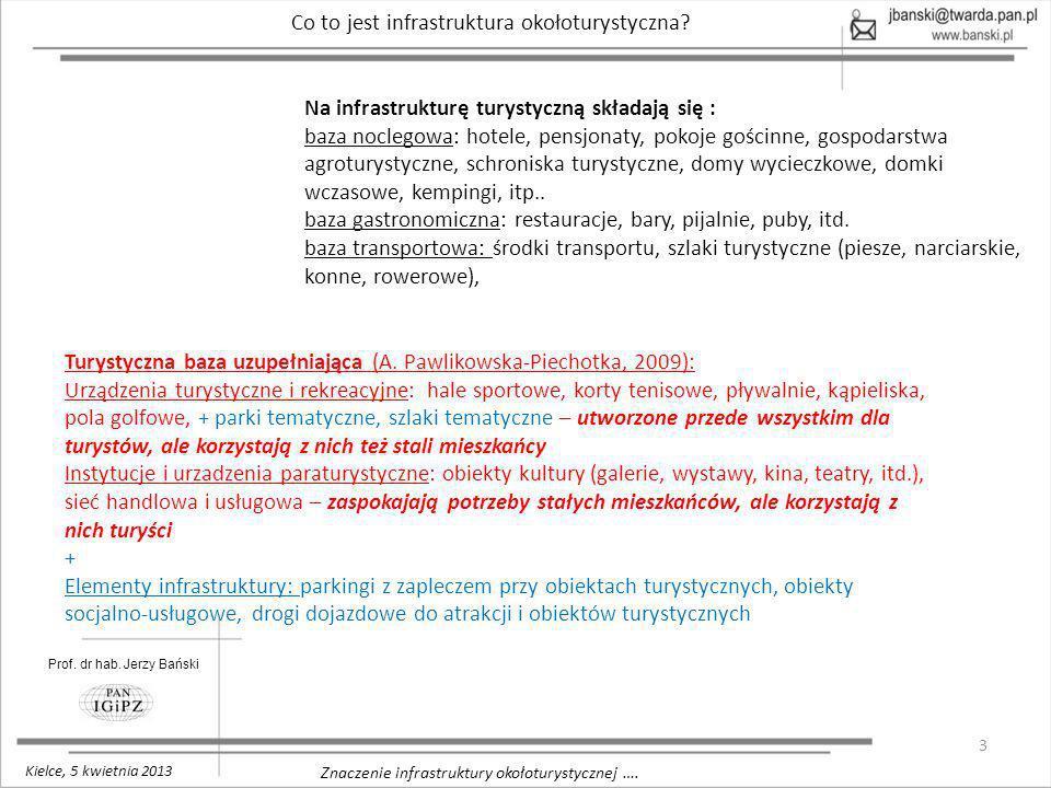 3 Znaczenie infrastruktury okołoturystycznej …. Prof. dr hab. Jerzy Bański Kielce, 5 kwietnia 2013 Co to jest infrastruktura okołoturystyczna? Na infr