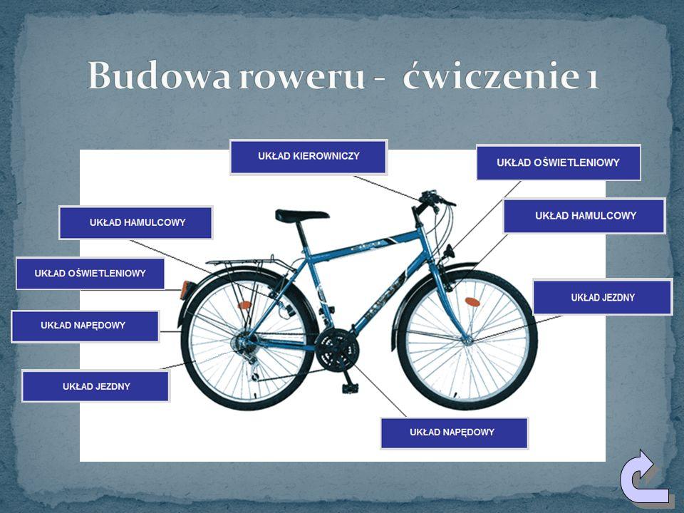 Każdy rower zbudowany jest z kilkuset części. Części te możemy pogrupować w następujące układy: 1. UKŁAD KIEROWNICZY 2. UKŁAD NAPĘDOWY 3. UKŁAD JEZDNY