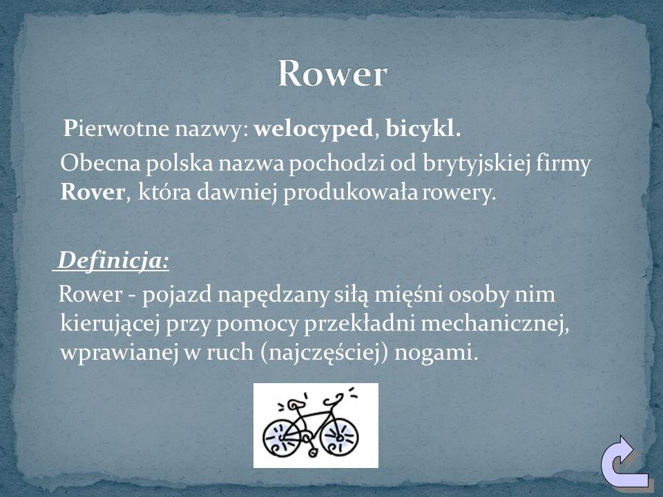 Pierwotne nazwy: welocyped, bicykl.