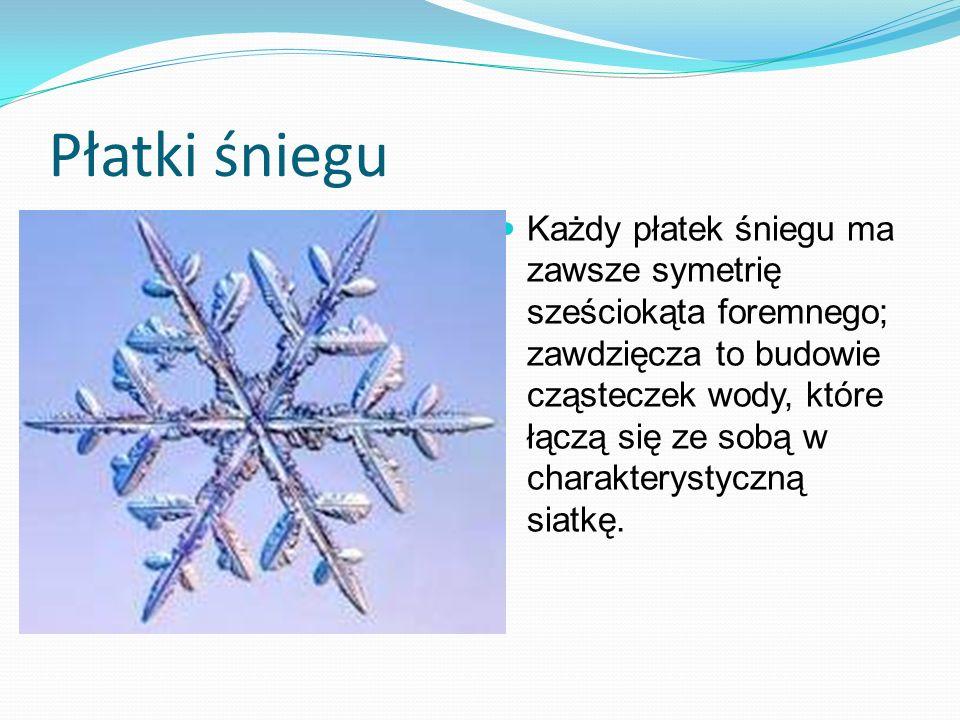 Płatki śniegu Każdy płatek śniegu ma zawsze symetrię sześciokąta foremnego; zawdzięcza to budowie cząsteczek wody, które łączą się ze sobą w charakter