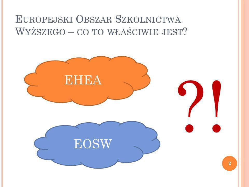 E UROPEJSKI O BSZAR S ZKOLNICTWA W YŻSZEGO – CO TO WŁAŚCIWIE JEST ? 2 EHEA EOSW ?!