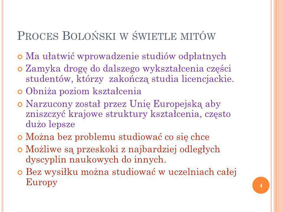 A LICZBA ICH … 5 44 .47. Deklarację Bolońska w 1999 r.