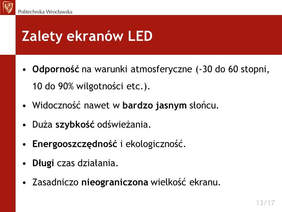 Zalety ekranów LED Odporność na warunki atmosferyczne (-30 do 60 stopni, 10 do 90% wilgotności etc.). Widoczność nawet w bardzo jasnym słońcu. Duża sz