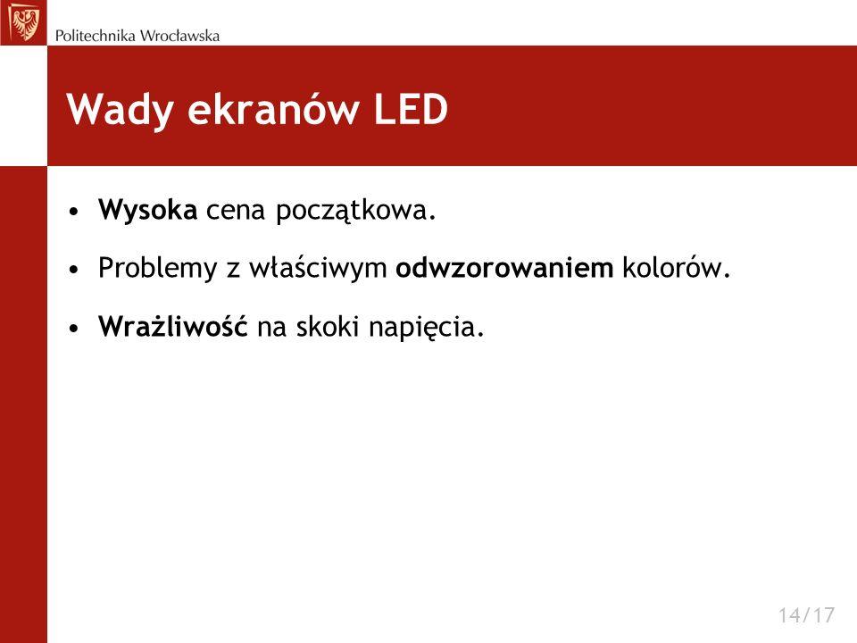 Wady ekranów LED Wysoka cena początkowa. Problemy z właściwym odwzorowaniem kolorów. Wrażliwość na skoki napięcia. 14/17
