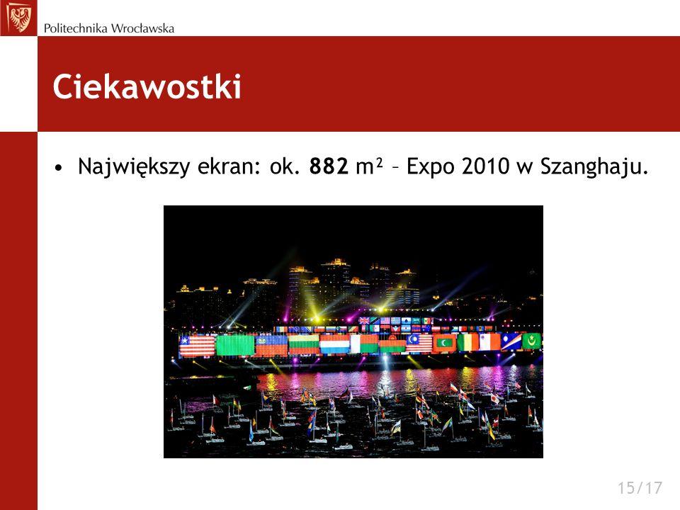 Ciekawostki Największy ekran: ok. 882 m² – Expo 2010 w Szanghaju. 15/17
