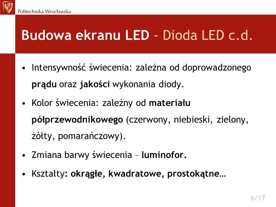 Budowa ekranu LED - Dioda LED c.d. Intensywność świecenia: zależna od doprowadzonego prądu oraz jakości wykonania diody. Kolor świecenia: zależny od m