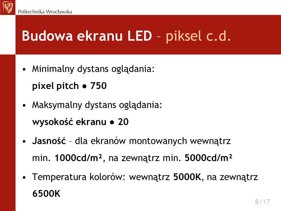 Budowa ekranu LED – piksel c.d. Minimalny dystans oglądania: pixel pitch 750 Maksymalny dystans oglądania: wysokość ekranu 20 Jasność – dla ekranów mo