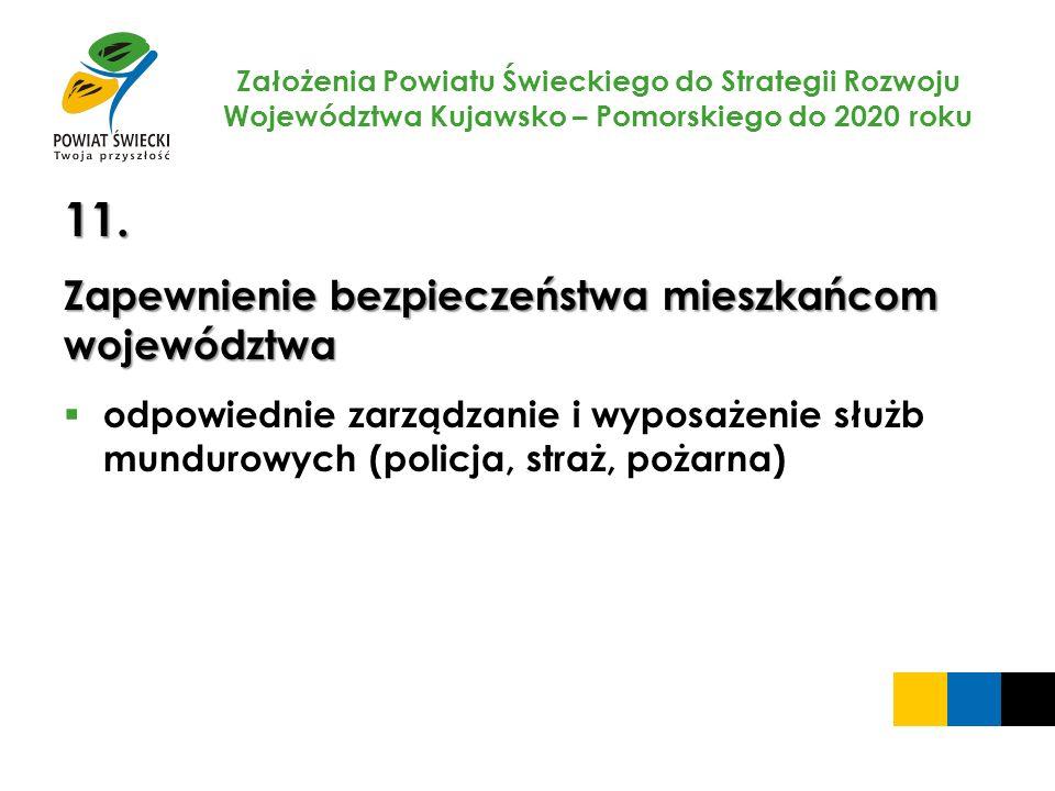 Założenia Powiatu Świeckiego do Strategii Rozwoju Województwa Kujawsko – Pomorskiego do 2020 roku 11. Zapewnienie bezpieczeństwa mieszkańcom województ