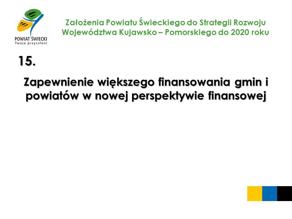 Założenia Powiatu Świeckiego do Strategii Rozwoju Województwa Kujawsko – Pomorskiego do 2020 roku 15. Zapewnienie większego finansowania gmin i powiat