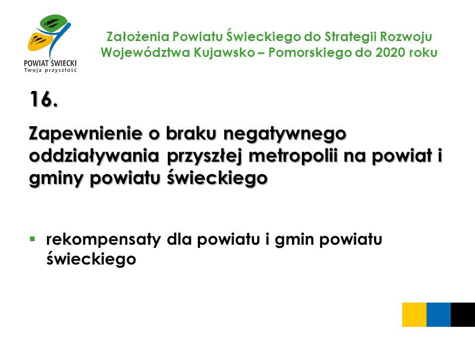Założenia Powiatu Świeckiego do Strategii Rozwoju Województwa Kujawsko – Pomorskiego do 2020 roku 16. Zapewnienie o braku negatywnego oddziaływania pr