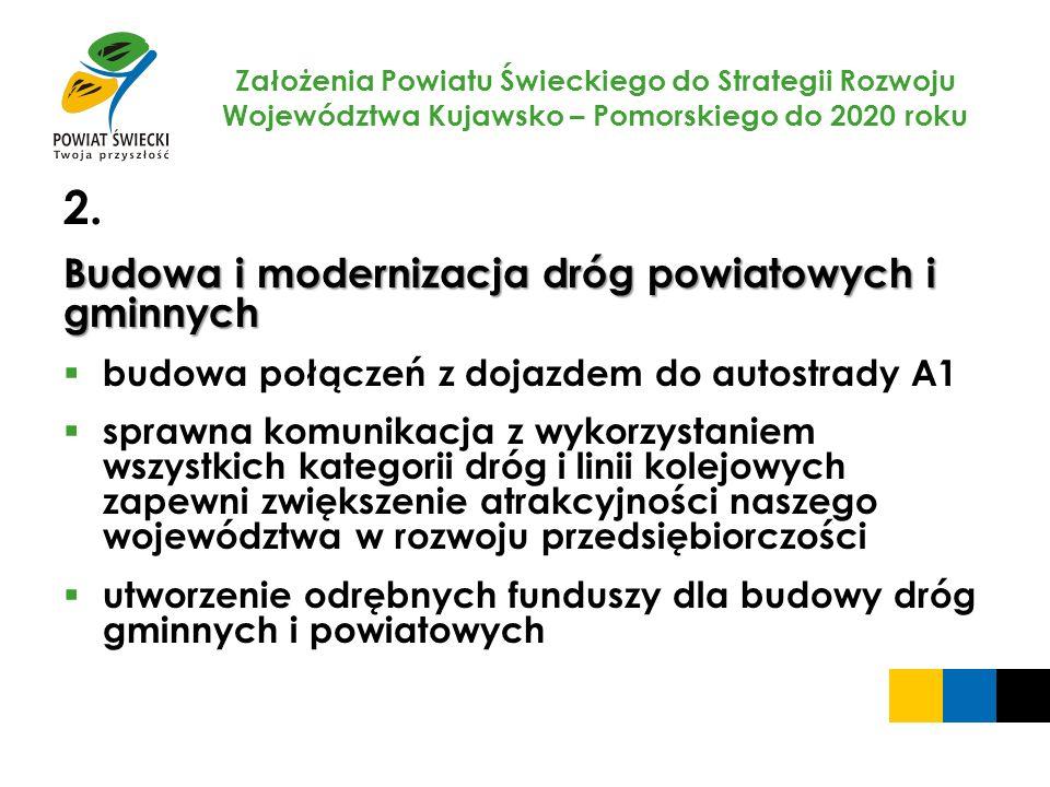 Założenia Powiatu Świeckiego do Strategii Rozwoju Województwa Kujawsko – Pomorskiego do 2020 roku 2. Budowa i modernizacja dróg powiatowych i gminnych